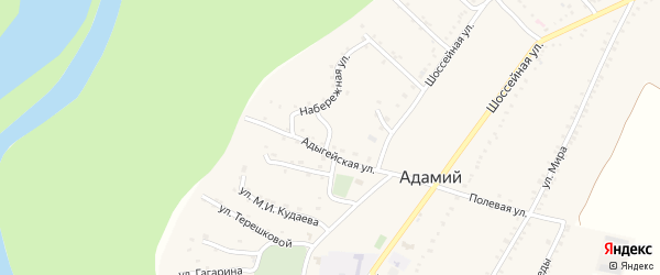 Улица Котовского на карте Адамия аула с номерами домов