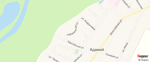 Набережная улица на карте Адамия аула с номерами домов