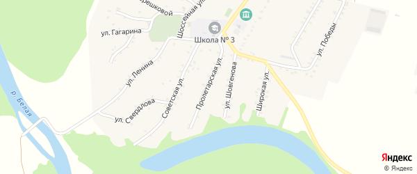 Пролетарская улица на карте Адамия аула с номерами домов