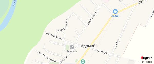 Комсомольская улица на карте Адамия аула с номерами домов