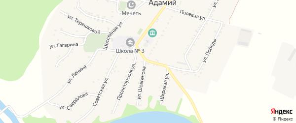 Школьная улица на карте Адамия аула с номерами домов