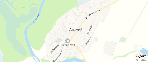 Карта Адамия аула в Адыгее с улицами и номерами домов