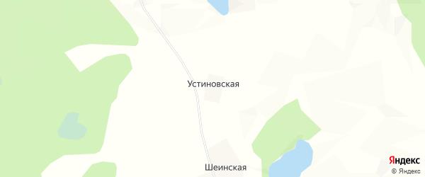Карта Устиновской деревни в Архангельской области с улицами и номерами домов