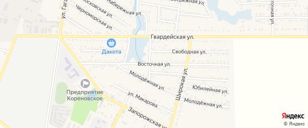 Восточная улица на карте Кореновска с номерами домов