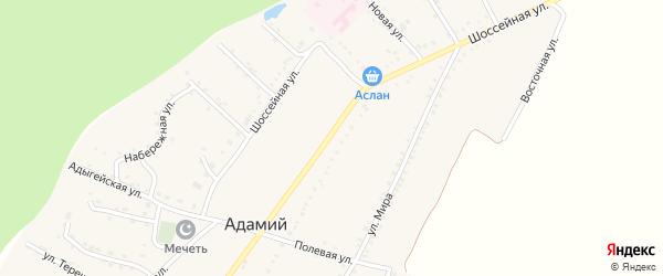 Шоссейная улица на карте Адамия аула с номерами домов
