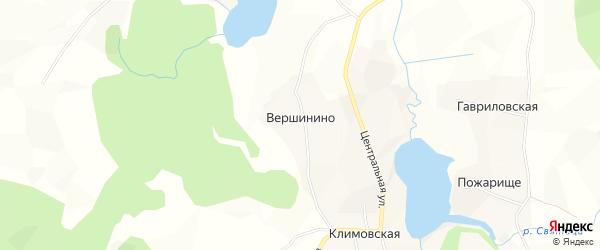 Карта деревни Вершинино в Архангельской области с улицами и номерами домов