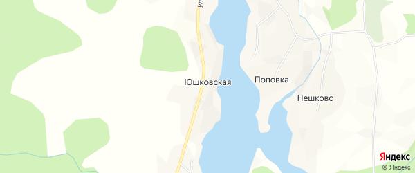 Карта Юшковской деревни в Архангельской области с улицами и номерами домов
