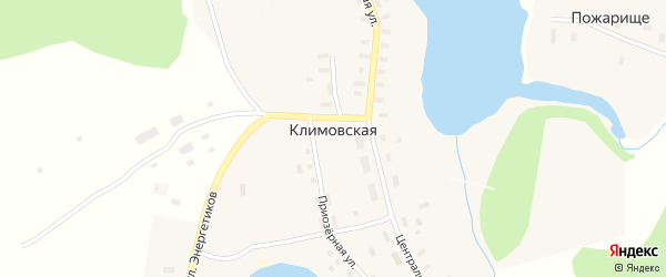 Школьный переулок на карте Климовской деревни с номерами домов