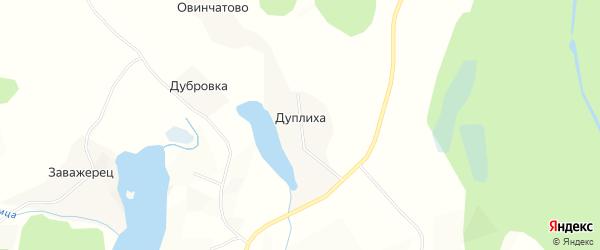 Карта деревни Дуплихи в Архангельской области с улицами и номерами домов