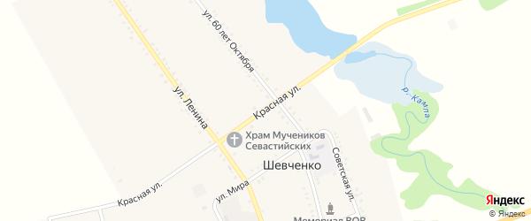 Красная улица на карте хутора Шевченко с номерами домов