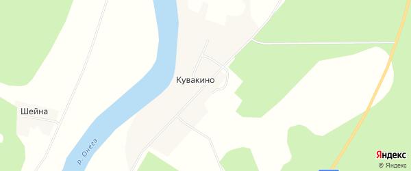 Карта деревни Кувакино в Архангельской области с улицами и номерами домов