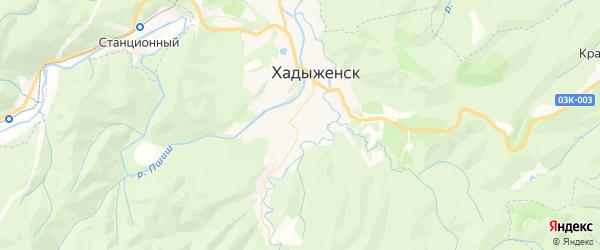 Карта Хадыженска с районами, улицами и номерами домов