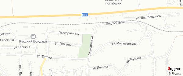 Подгорная улица на карте Россоши с номерами домов