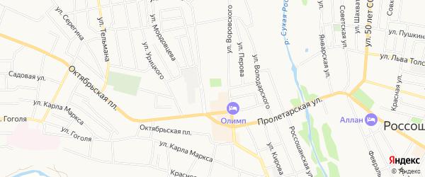Карта территории ГК Строителя города Россоши в Воронежской области с улицами и номерами домов