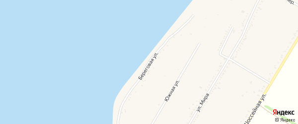 Береговая улица на карте Красногвардейского села с номерами домов