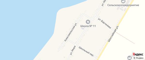 Комсомольская улица на карте Красногвардейского села с номерами домов