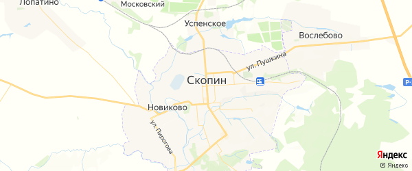Карта Скопина с районами, улицами и номерами домов