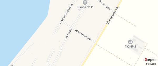 Школьный переулок на карте Красногвардейского села с номерами домов
