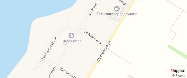 Улица Бартенева на карте Красногвардейского села с номерами домов