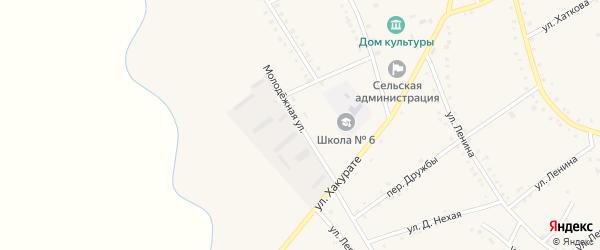 Молодежная улица на карте аула Габукая с номерами домов