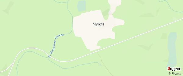 Карта поселка Чужги в Архангельской области с улицами и номерами домов