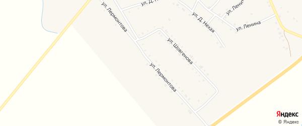 Улица Лермонтова на карте аула Габукая с номерами домов