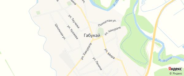 Карта аула Габукая в Адыгее с улицами и номерами домов