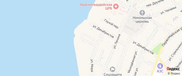 Односторонний переулок на карте Красногвардейского села с номерами домов