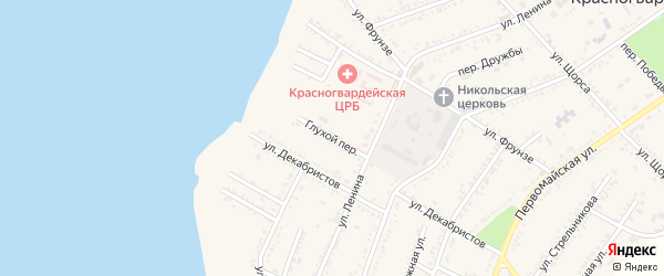Глухой переулок на карте Красногвардейского села с номерами домов