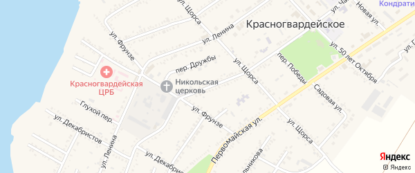 Улица Чапаева на карте Красногвардейского села с номерами домов
