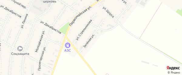 Зеленая улица на карте Красногвардейского села с номерами домов