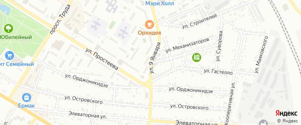 Улица 9 Января на карте Россоши с номерами домов