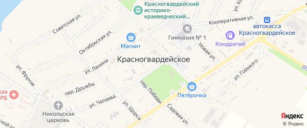 Парниковый переулок на карте Красногвардейского села с номерами домов