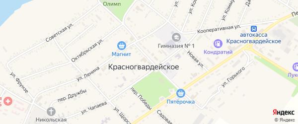 Улица Победы на карте Красногвардейского села с номерами домов