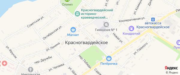 Улица 50 лет Октября на карте Красногвардейского села с номерами домов
