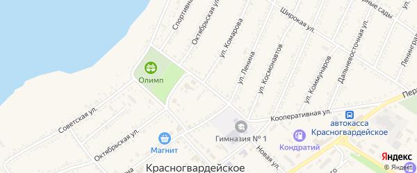 Кооперативная улица на карте Красногвардейского села с номерами домов