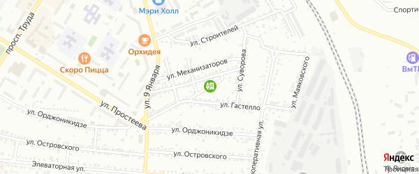 Переулок Богдана Хмельницкого на карте Россоши с номерами домов