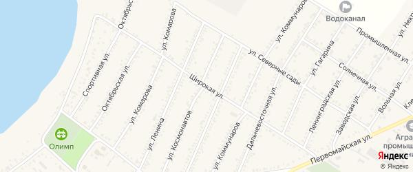Широкая улица на карте Красногвардейского села с номерами домов