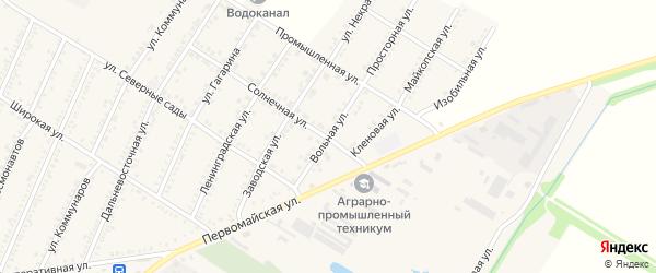 Вольная улица на карте Красногвардейского села с номерами домов