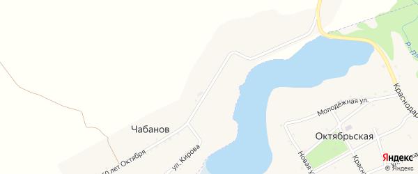 Улица 60 лет Октября на карте хутора Чабанова с номерами домов
