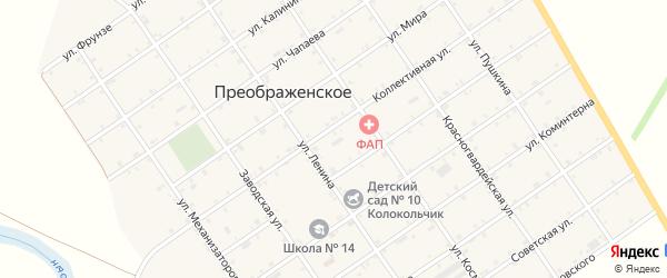 Дорога А/Д Майкоп-Усть-Лабинск на карте Преображенского села с номерами домов