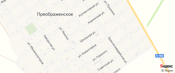 Школьная улица на карте Преображенского села с номерами домов