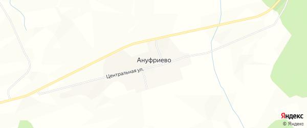 Карта деревни Ануфриево в Архангельской области с улицами и номерами домов