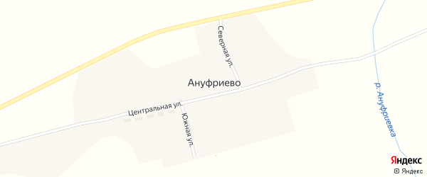 Центральная улица на карте деревни Ануфриево с номерами домов
