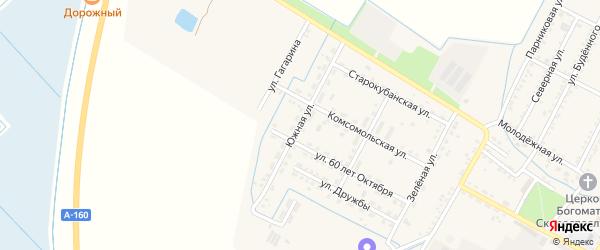 Южная улица на карте аула Хатукая с номерами домов