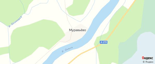 Карта деревни Муравьево в Архангельской области с улицами и номерами домов