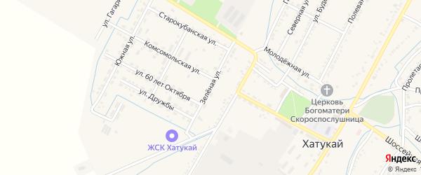 Зеленая улица на карте аула Хатукая с номерами домов