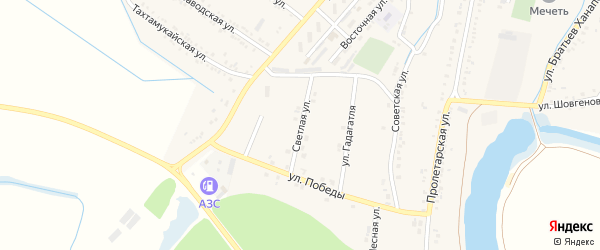 Светлая улица на карте аула Хатукая с номерами домов