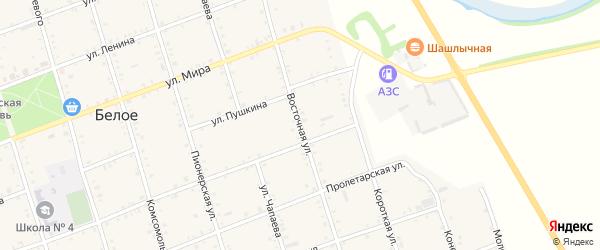 Восточная улица на карте аула Джамбичи с номерами домов