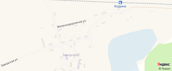 Железнодорожная улица на карте поселка Кодино с номерами домов